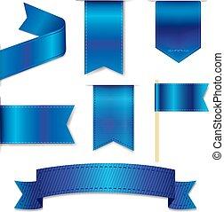 blauwe , web, set, linten