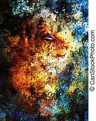 blauwe , weinig; niet zo(veel), dier, crackle., kleur, abstract, stippen, leeuwwelp, achtergrond, head., schilderij
