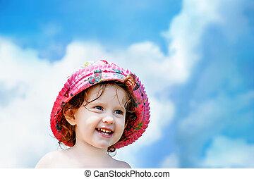 blauwe , weinig; niet zo(veel), hemel, clouds., achtergrond, meisje, hoedje, wit rood, vrolijke