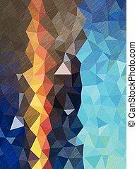 blauwe , weinig; niet zo(veel), kleur, model, textuur, schaduw, lijn, driehoeken