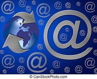 blauwe , wereld, email, ongeveer