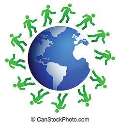 blauwe , wereld, groene, ongeveer, renners