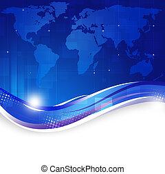 blauwe , wereld handel, achtergrond, kaart