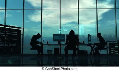 blauwe , werken, achtergrond, hackers