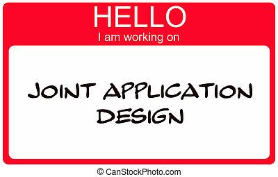 blauwe , werkende , joint, toepassing, label, ontwerp, hallo, rood