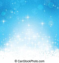 blauwe , winter, achtergrond, lichten, sterretjes, kerstmis