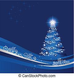 blauwe , winter boom, gloeiend, kerstmis, tuin