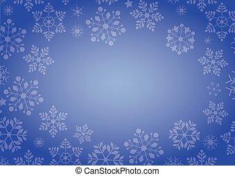 blauwe , winter, helling, kerstmis, achtergrond, grens, sneeuwvlok