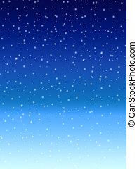 blauwe , winter, op, hemel, sneeuw, achtergrond, nacht, het vallen