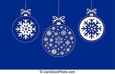 blauwe , witte bal, kerstmis