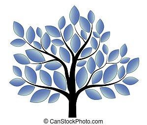 blauwe , witte , boompje, vrijstaand, achtergrond
