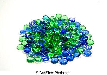 blauwe , witte , groene, vrijstaand, rotsen