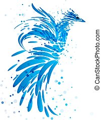 blauwe , witte , mythisch, vogel