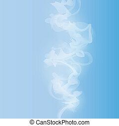 blauwe , witte , vector, achtergrond, rook