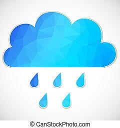 blauwe , wolk, druppel, driehoeken, regen