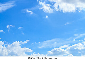 blauwe , wolk, hemel, witte