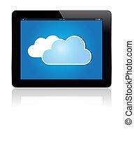 blauwe , wolk, tablet