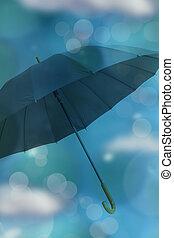 blauwe , wolken, bokeh, paraplu, achtergrond