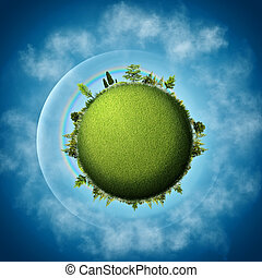 blauwe , wolken, eco, abstract, achtergronden, groene, earth., op, hemelen