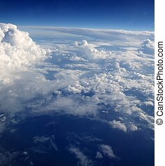 blauwe , wolken, hemel, aircarft, vliegtuig, aanzicht