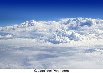 blauwe , wolken, hemel, hoog, vliegtuig, aanzicht