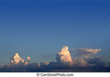 blauwe , wolken, hemel, vliegtuig, witte , vliegtuig, aanzicht