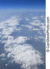 blauwe , wolken, hemel, zonnig, vliegtuig, vliegtuig, dag, aanzicht