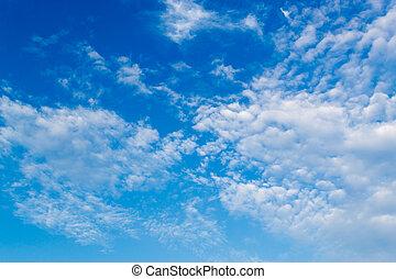 blauwe , wolken, hoogte, hemel, hoog, witte