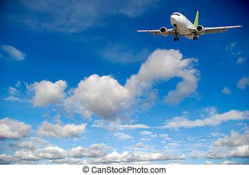 blauwe , wolken, -, reizen, vliegen, hemel, luchtvliegtuig