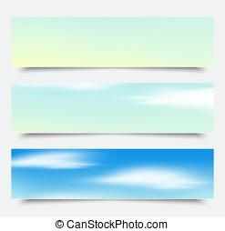 blauwe , wolken, set, headers, banieren, vector.