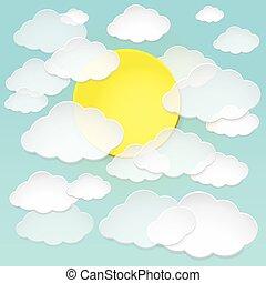 blauwe , wolken, sky., zon, abstract, papier, vector