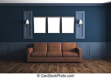 blauwe , woonkamer, classieke