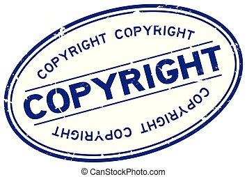 blauwe , woord, auteursrecht, postzegel, rubber, achtergrond, zeehondje, ovaal, grunge, witte