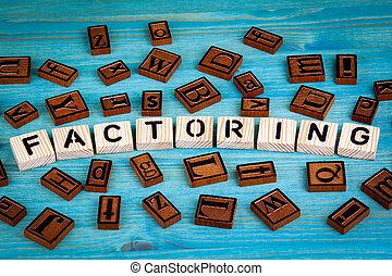 blauwe , woord, houten, alfabet, factoring, geschreven, hout, achtergrond, block.