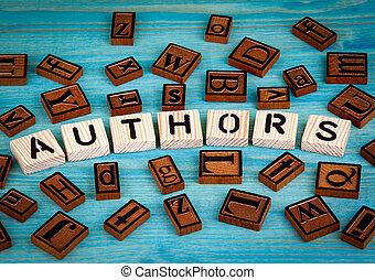 blauwe , woord, houten, alfabet, geschreven, hout, achtergrond, auteurs, block.