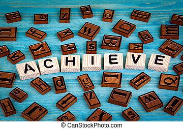 blauwe , woord, houten, alfabet, geschreven, hout, achtergrond, block., bereiken