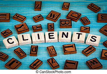 blauwe , woord, houten, alfabet, klanten, geschreven, hout, achtergrond, block.
