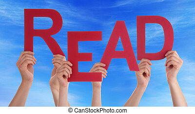 blauwe , woord, mensen, lezen, velen, hemel, holdingshanden, rood