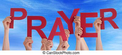 blauwe , woord, mensen, vele handen, hemel, vasthouden, gebed, rood