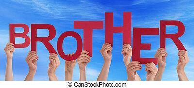 blauwe , woord, mensen, velen, hemel, broer, holdingshanden, rood