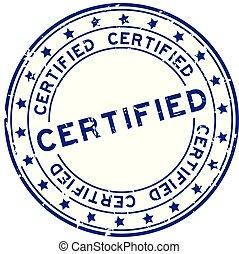 blauwe , woord, postzegel, rubber, achtergrond, zeehondje, grunge, witte , ronde, verklaard