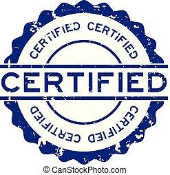 blauwe , woord, postzegel, rubber, achtergrond, zeehondje, grunge, witte , verklaard