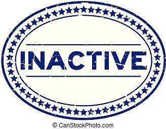 blauwe , woord, postzegel, rubber, inactief, achtergrond, zeehondje, ovaal, grunge, witte