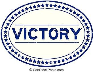 blauwe , woord, postzegel, rubber, overwinning, achtergrond, zeehondje, ovaal, grunge, witte