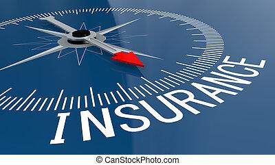 blauwe , woord, verzekering, kompas