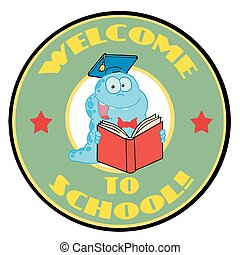 blauwe worm, groene, welkom