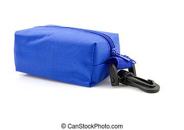 blauwe , zak, weinig; niet zo(veel), het reizen