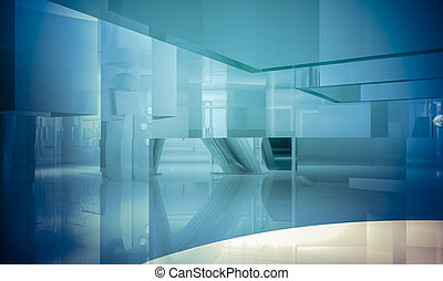 blauwe , zakenkantoor, ruimte, vensters, binnen, groot, effecte, licht, kolommen, lege, de bouw.