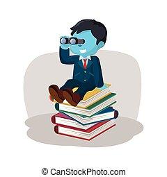 blauwe , zakenman, op, stapel, van, boek