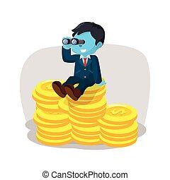 blauwe , zakenman, op, stapel, van, munt, met, kijker